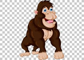 大猩猩灵长类动物,卡通大猩猩PNG剪贴画卡通人物,哺乳动物,猫像哺