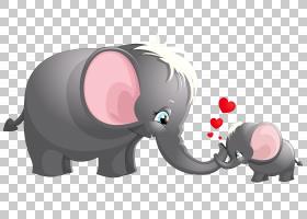 大象卡通绘图,透明可爱的妈妈和孩子大象卡通,两个灰色大象的PNG