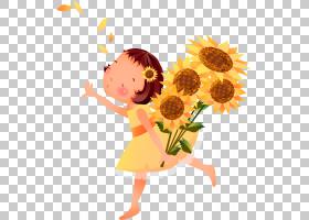 常见的向日葵女孩,黄色卡通向日葵女孩装饰图案PNG剪贴画插花,儿