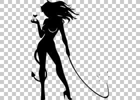 恶魔女人绘图,魔鬼PNG剪贴画手,单色,贴纸,虚构人物,卡通,剪影,黑