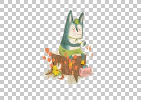 插画家绘画艺术绘画,狐狸坐在木码头PNG剪贴画画,动物,猫像哺乳动