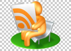 橙色椅子,RSS阅读器,人阅读书卡通PNG剪贴画家具,橙色,社交媒体,R