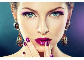 女人,脸,妇女,化妆品,珠宝,口红,特写镜头,耳环,蓝色,眼睛,壁纸,