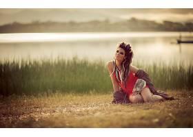 女人,野蛮的,女巫,模型,湖,风景,壁纸,