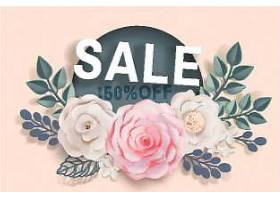 清新花卉母亲节促销标签矢量插画