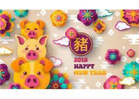 猪年快乐创意个性装饰元素背景
