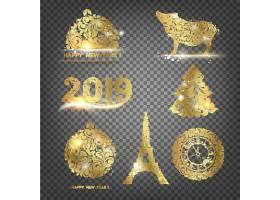 金色2019新年快乐创意个性装饰元素背景