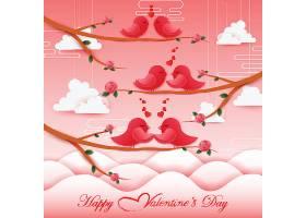 情人节树枝鸟儿装饰元素插画设计