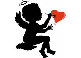情人节爱神丘比特剪影装饰图案设计