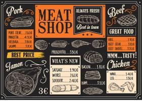 创意个性欧式餐饮肉食餐牌设计模板