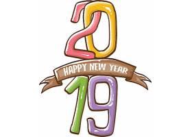 手写创意2019新年元素装饰图案设计