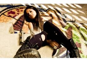 女人,野蛮的,Emo,世俗的,情绪,模特,风格,城市的,壁纸,