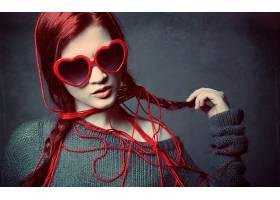 女人,模特,妇女,女孩,辫子,太阳镜,红色,头发,壁纸,图片