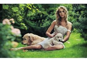 女人,模特,狗,小狗,情绪,时尚,壁纸,