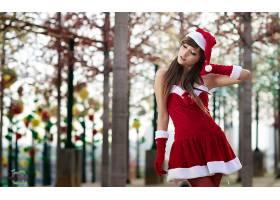 女人,亚洲的,妇女,模型,东方的,圣诞老人,帽子,黑发女人,壁纸,