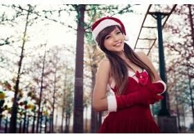 女人,亚洲的,妇女,模型,黑发女人,棕色,眼睛,圣诞老人,帽子,微笑,
