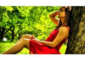 女人,情绪,模型,妇女,红色,穿衣,树,花园树木,红色,壁纸,
