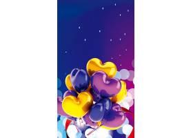 H5爱心炫彩气球立体背景图片