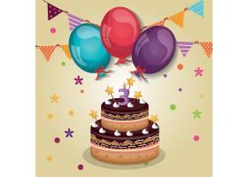 3周岁生日会生日派对蛋糕装饰插画元素