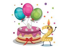 2周岁生日会生日派对蛋糕装饰插画元素