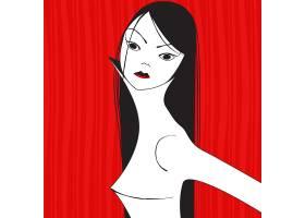 抽象女性装饰画插画设计