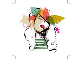 抽象时尚女性装饰画插画设计