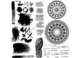 笔墨笔痕涂鸦装饰图案素材