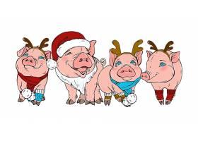 手绘简笔画猪新年快乐形象插画设计