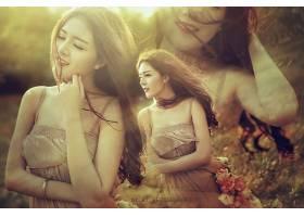 女人,莉莉,Luta,模特,越南,越南的,穿衣,Bokeh,微笑,花冠,壁纸,