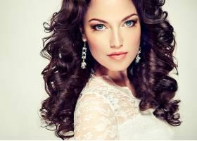 女人,模特,模特,脸,头发,卷曲,耳环,壁纸,