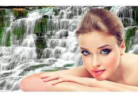 女人,美丽的,瀑布,脸,头发,模特,壁纸,