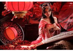 女人,亚洲的,女孩,妇女,台湾的,工具,树,盆栽,灯笼,玫瑰,传统的,