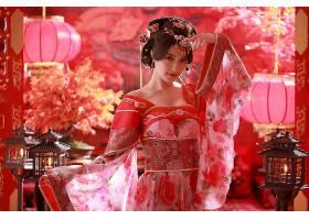 女人,亚洲的,妇女,发型设计,国家的,穿衣,灯笼,蜡烛,盆栽,台湾的,