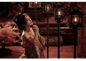 女人,亚洲的,妇女,灯笼,蜡烛,国家的,穿衣,壁纸,