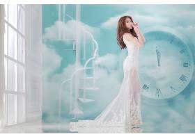 女人,帕蒂,赖,模特,台湾,女孩,妇女,亚洲的,穿衣,时钟,楼梯,窗户,