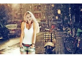 女人,美丽的,白皙的,雨,模特,城市,重新流行,壁纸,