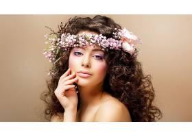 女人,脸,花,壁纸,(2)