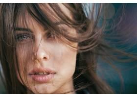 女人,脸,妇女,模特,黑发女人,蓝色,眼睛,壁纸,(2)