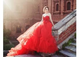 女人,模特,模特,穿衣,楼梯,大厦,壁纸,
