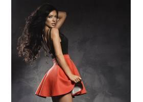 女人,模特,模特,女孩,妇女,裙子,黑色,头发,长的,头发,壁纸,
