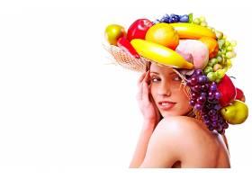 女人,美丽的,富有色彩的,水果,脸,模特,帽子,壁纸,