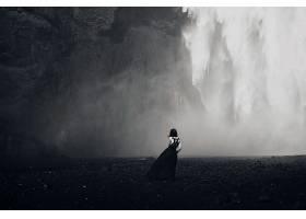 女人,后面的,妇女,黑色,白色,风景,瀑布,壁纸,