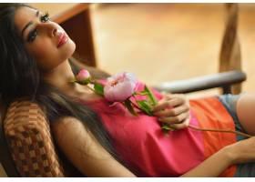 女人,Palak,耆那教的,模特,印度,东方的,印度的,女孩,模特,花,妇