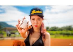 女人,亚洲的,污迹,女孩,帽子,棒球,深度,关于,领域,壁纸,