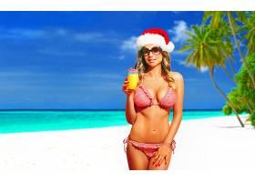 女人,美丽的,热带的,海滩,手掌,树,绿松石,圣诞老人,帽子,太阳镜,