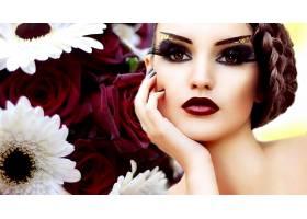 女人,脸,妇女,女孩,化妆品,花,口红,棕色,眼睛,壁纸,