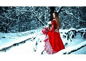 女人,模特,模特,妇女,红色,穿衣,黑发女人,冬天的,户外的,雪,花,