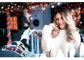 女人,模特,模特,妇女,Bokeh,微笑,白皙的,圣诞节,卷曲,棕色,眼睛,