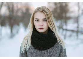 女人,模特,模特,妇女,女孩,白皙的,围巾,冬天的,深度,关于,领域,