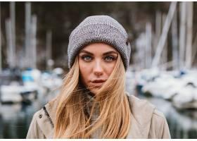 女人,模特,模特,妇女,女孩,白皙的,帽子,深度,关于,领域,蓝色,眼